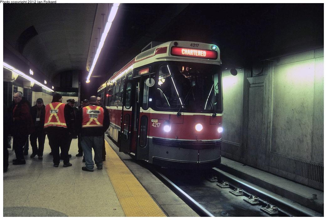 (352k, 1044x705)<br><b>Country:</b> Canada<br><b>City:</b> Toronto<br><b>System:</b> TTC<br><b>Line:</b> TTC 510-Spadina<br><b>Location:</b> Spadina Station <br><b>Route:</b> Fan Trip<br><b>Car:</b> TTC ALRV 4217 <br><b>Photo by:</b> Ian Folkard<br><b>Date:</b> 2/14/2010<br><b>Viewed (this week/total):</b> 0 / 404