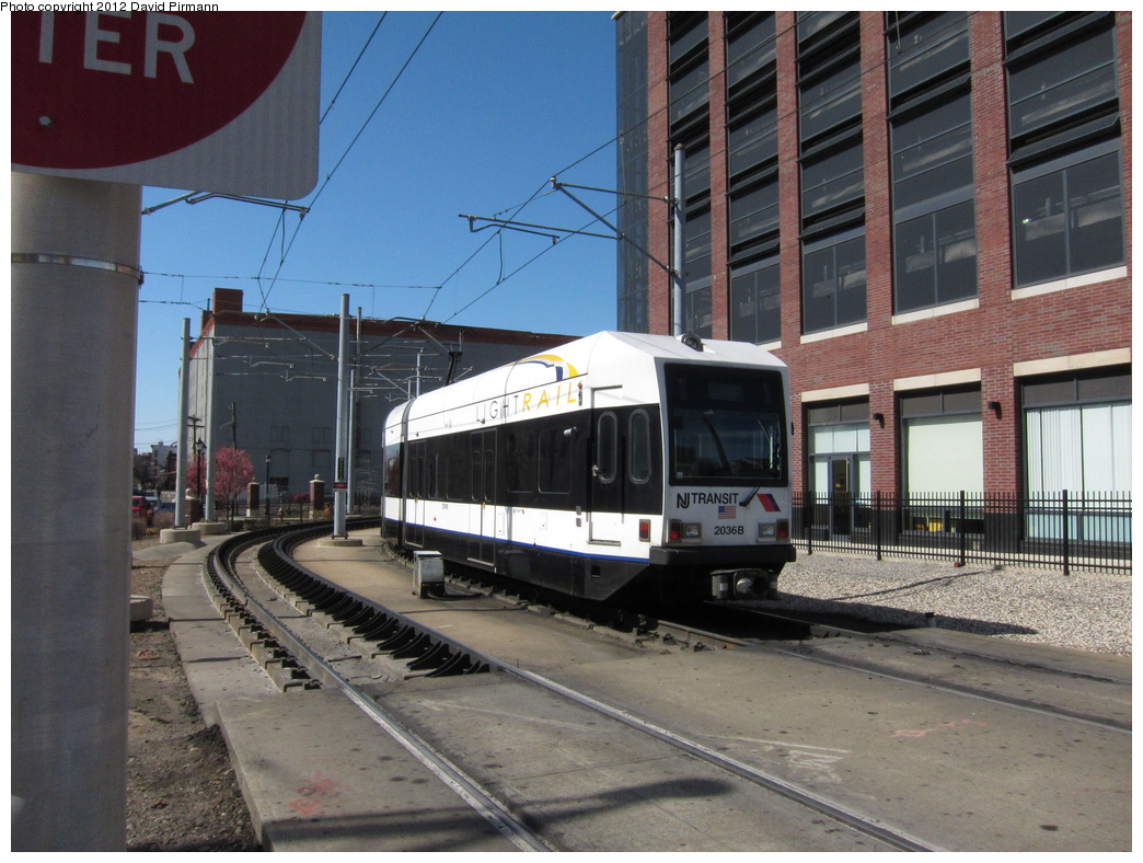 (339k, 1044x788)<br><b>Country:</b> United States<br><b>City:</b> Jersey City, NJ<br><b>System:</b> Hudson Bergen Light Rail<br><b>Location:</b> Washington St. Grade Crossing <br><b>Car:</b> NJT-HBLR LRV (Kinki-Sharyo, 1998-99)  2036 <br><b>Photo by:</b> David Pirmann<br><b>Date:</b> 3/11/2012<br><b>Viewed (this week/total):</b> 3 / 389