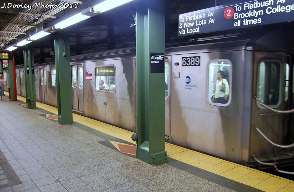 (301k, 1024x667)<br><b>Country:</b> United States<br><b>City:</b> New York<br><b>System:</b> New York City Transit<br><b>Line:</b> IRT Brooklyn Line<br><b>Location:</b> Atlantic Avenue <br><b>Route:</b> 2<br><b>Car:</b> R-142 (Primary Order, Bombardier, 1999-2002)  6389 <br><b>Photo by:</b> John Dooley<br><b>Date:</b> 9/3/2011<br><b>Viewed (this week/total):</b> 3 / 1353