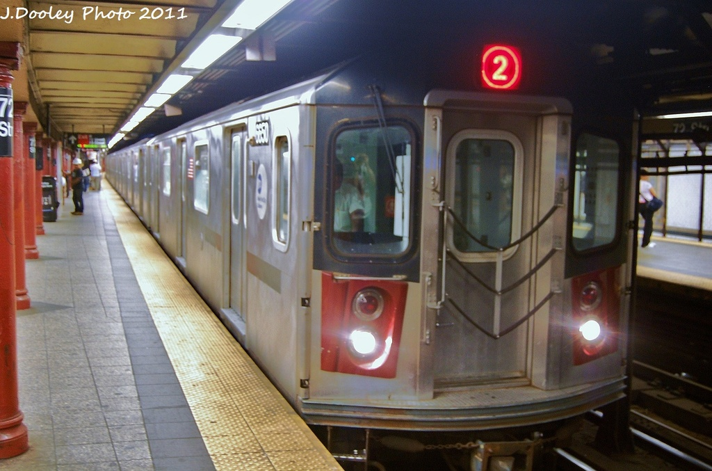 (302k, 1024x677)<br><b>Country:</b> United States<br><b>City:</b> New York<br><b>System:</b> New York City Transit<br><b>Line:</b> IRT West Side Line<br><b>Location:</b> 72nd Street <br><b>Route:</b> 2<br><b>Car:</b> R-142 (Primary Order, Bombardier, 1999-2002)  6650 <br><b>Photo by:</b> John Dooley<br><b>Date:</b> 9/3/2011<br><b>Viewed (this week/total):</b> 1 / 1213