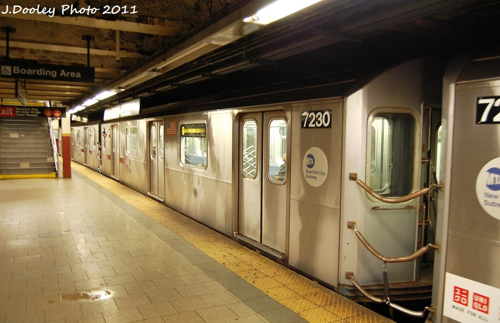 (313k, 1024x663)<br><b>Country:</b> United States<br><b>City:</b> New York<br><b>System:</b> New York City Transit<br><b>Line:</b> IRT East Side Line<br><b>Location:</b> Brooklyn Bridge/City Hall <br><b>Route:</b> 6<br><b>Car:</b> R-142A (Primary Order, Kawasaki, 1999-2002)  7230 <br><b>Photo by:</b> John Dooley<br><b>Date:</b> 10/28/2011<br><b>Viewed (this week/total):</b> 2 / 1121