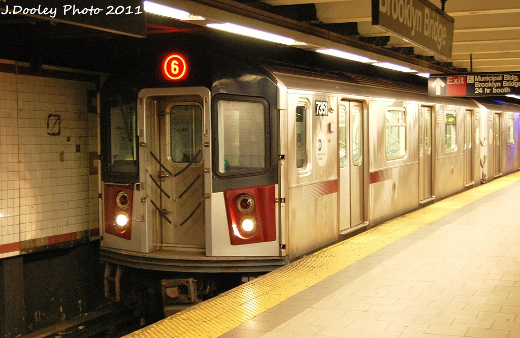 (327k, 1024x665)<br><b>Country:</b> United States<br><b>City:</b> New York<br><b>System:</b> New York City Transit<br><b>Line:</b> IRT East Side Line<br><b>Location:</b> Brooklyn Bridge/City Hall <br><b>Route:</b> 6<br><b>Car:</b> R-142A (Primary Order, Kawasaki, 1999-2002)  7351 <br><b>Photo by:</b> John Dooley<br><b>Date:</b> 10/28/2011<br><b>Viewed (this week/total):</b> 4 / 1447