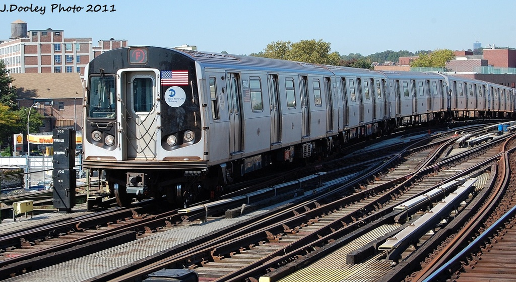 (361k, 1024x560)<br><b>Country:</b> United States<br><b>City:</b> New York<br><b>System:</b> New York City Transit<br><b>Line:</b> BMT Culver Line<br><b>Location:</b> Ditmas Avenue <br><b>Route:</b> F<br><b>Car:</b> R-160A (Option 2) (Alstom, 2009, 5-car sets)  9603 <br><b>Photo by:</b> John Dooley<br><b>Date:</b> 10/9/2011<br><b>Viewed (this week/total):</b> 0 / 746