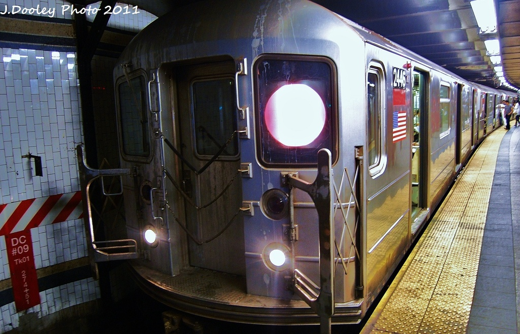(342k, 1024x658)<br><b>Country:</b> United States<br><b>City:</b> New York<br><b>System:</b> New York City Transit<br><b>Line:</b> IRT West Side Line<br><b>Location:</b> 72nd Street <br><b>Route:</b> 1<br><b>Car:</b> R-62 (Kawasaki, 1983-1985)  2446 <br><b>Photo by:</b> John Dooley<br><b>Date:</b> 9/3/2011<br><b>Viewed (this week/total):</b> 0 / 908