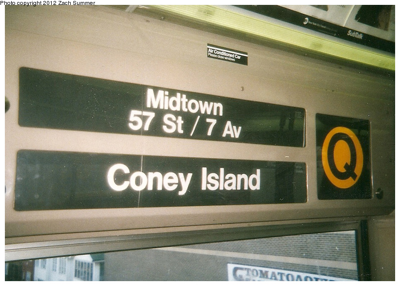 (241k, 820x587)<br><b>Country:</b> United States<br><b>City:</b> New York<br><b>System:</b> New York City Transit<br><b>Route:</b> Q<br><b>Car:</b> R-68 (Westinghouse-Amrail, 1986-1988)  Interior <br><b>Photo by:</b> Zach Summer<br><b>Date:</b> 7/22/2001<br><b>Notes:</b> New (Q) Local Rollsign. First Day of Broadway Express/Brighton Local (Q) Service<br><b>Viewed (this week/total):</b> 3 / 712