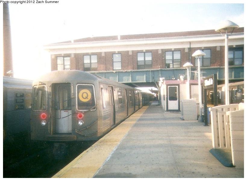 (202k, 820x602)<br><b>Country:</b> United States<br><b>City:</b> New York<br><b>System:</b> New York City Transit<br><b>Location:</b> Coney Island/Stillwell Avenue<br><b>Route:</b> Q<br><b>Car:</b> R-68 (Westinghouse-Amrail, 1986-1988)   <br><b>Photo by:</b> Zach Summer<br><b>Date:</b> 7/22/2001<br><b>Notes:</b> First Day of Broadway Express/Brighton Local (Q) Service<br><b>Viewed (this week/total):</b> 4 / 1271