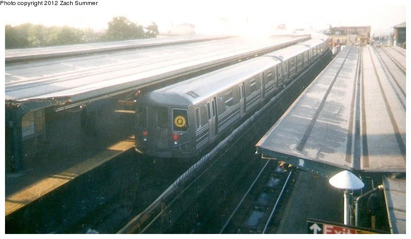 (183k, 820x478)<br><b>Country:</b> United States<br><b>City:</b> New York<br><b>System:</b> New York City Transit<br><b>Location:</b> Coney Island/Stillwell Avenue<br><b>Route:</b> Q<br><b>Car:</b> R-68 (Westinghouse-Amrail, 1986-1988)   <br><b>Photo by:</b> Zach Summer<br><b>Date:</b> 7/22/2001<br><b>Notes:</b> First Day of Broadway Express/Brighton Local (Q) Service<br><b>Viewed (this week/total):</b> 1 / 1136
