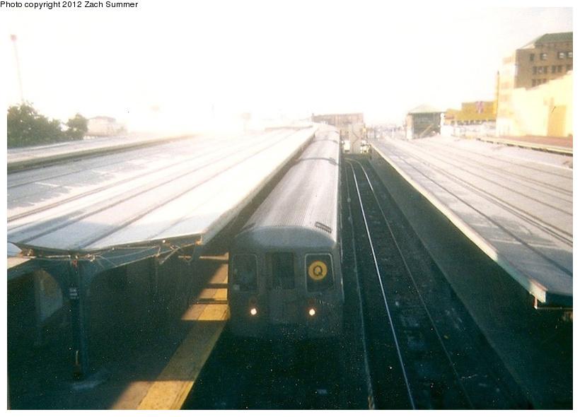 (177k, 820x590)<br><b>Country:</b> United States<br><b>City:</b> New York<br><b>System:</b> New York City Transit<br><b>Location:</b> Coney Island/Stillwell Avenue<br><b>Route:</b> Q<br><b>Car:</b> R-68 (Westinghouse-Amrail, 1986-1988)   <br><b>Photo by:</b> Zach Summer<br><b>Date:</b> 7/22/2001<br><b>Notes:</b> First Day of Broadway Express/Brighton Local (Q) Service<br><b>Viewed (this week/total):</b> 2 / 1161