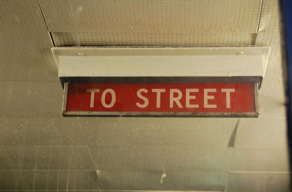 (256k, 1024x676)<br><b>Country:</b> United States<br><b>City:</b> New York<br><b>System:</b> New York City Transit<br><b>Line:</b> IND Rockaway<br><b>Location:</b> Broad Channel <br><b>Photo by:</b> John Dooley<br><b>Date:</b> 1/22/2012<br><b>Notes:</b> To street signage.<br><b>Viewed (this week/total):</b> 3 / 658