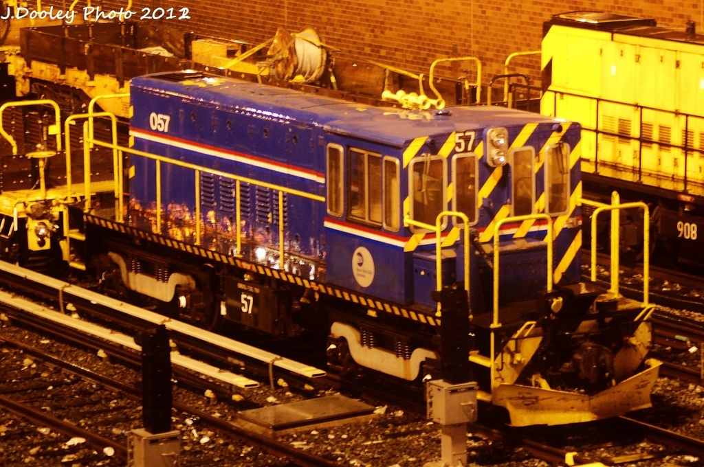(384k, 1024x680)<br><b>Country:</b> United States<br><b>City:</b> New York<br><b>System:</b> New York City Transit<br><b>Location:</b> Corona Yard<br><b>Route:</b> Work Service<br><b>Car:</b> R-41 Locomotive  57 <br><b>Photo by:</b> John Dooley<br><b>Date:</b> 1/23/2012<br><b>Viewed (this week/total):</b> 2 / 720