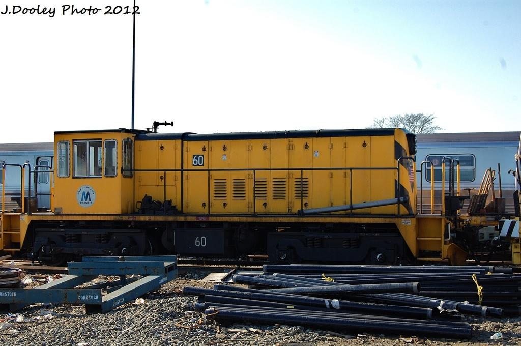 (285k, 1024x680)<br><b>Country:</b> United States<br><b>City:</b> New York<br><b>System:</b> New York City Transit<br><b>Location:</b> Coney Island Yard<br><b>Route:</b> Work Service<br><b>Car:</b> R-43 Locomotive  60 <br><b>Photo by:</b> John Dooley<br><b>Date:</b> 1/7/2012<br><b>Viewed (this week/total):</b> 0 / 455