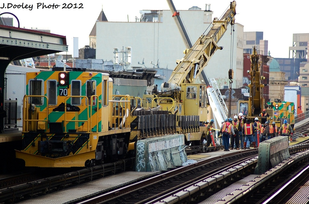 (379k, 1024x676)<br><b>Country:</b> United States<br><b>City:</b> New York<br><b>System:</b> New York City Transit<br><b>Line:</b> BMT Nassau Street/Jamaica Line<br><b>Location:</b> Gates Avenue <br><b>Route:</b> Work Service<br><b>Car:</b> R-47 Locomotive  70 <br><b>Photo by:</b> John Dooley<br><b>Date:</b> 1/28/2012<br><b>Viewed (this week/total):</b> 2 / 922