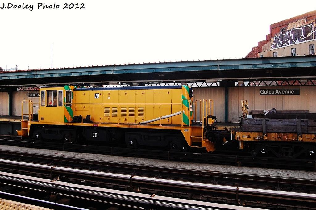 (314k, 1024x680)<br><b>Country:</b> United States<br><b>City:</b> New York<br><b>System:</b> New York City Transit<br><b>Line:</b> BMT Nassau Street/Jamaica Line<br><b>Location:</b> Gates Avenue <br><b>Route:</b> Work Service<br><b>Car:</b> R-47 Locomotive  70 <br><b>Photo by:</b> John Dooley<br><b>Date:</b> 1/28/2012<br><b>Viewed (this week/total):</b> 1 / 839