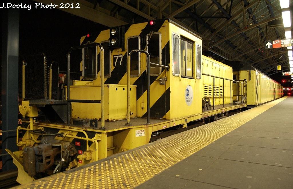 (345k, 1024x661)<br><b>Country:</b> United States<br><b>City:</b> New York<br><b>System:</b> New York City Transit<br><b>Location:</b> Coney Island/Stillwell Avenue<br><b>Route:</b> Work Service<br><b>Car:</b> R-52 Locomotive  77 <br><b>Photo by:</b> John Dooley<br><b>Date:</b> 1/20/2012<br><b>Viewed (this week/total):</b> 7 / 632