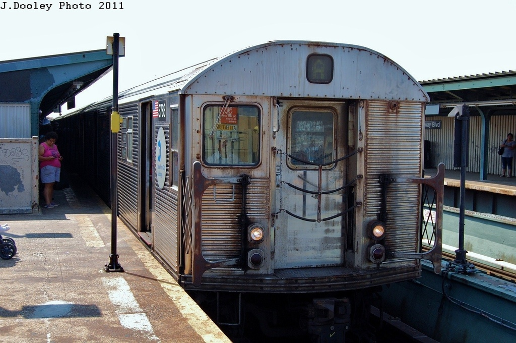 (323k, 1024x680)<br><b>Country:</b> United States<br><b>City:</b> New York<br><b>System:</b> New York City Transit<br><b>Line:</b> IND Fulton Street Line<br><b>Location:</b> Rockaway Boulevard <br><b>Route:</b> A<br><b>Car:</b> R-32 (Budd, 1964)  3738 <br><b>Photo by:</b> John Dooley<br><b>Date:</b> 8/20/2011<br><b>Viewed (this week/total):</b> 1 / 593