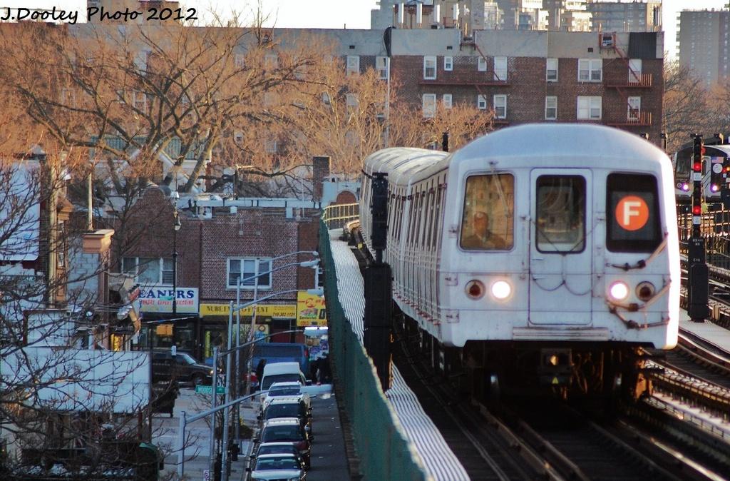 (391k, 1024x674)<br><b>Country:</b> United States<br><b>City:</b> New York<br><b>System:</b> New York City Transit<br><b>Line:</b> BMT Culver Line<br><b>Location:</b> Avenue P <br><b>Route:</b> F<br><b>Car:</b> R-46 (Pullman-Standard, 1974-75) 5482 <br><b>Photo by:</b> John Dooley<br><b>Date:</b> 1/20/2012<br><b>Viewed (this week/total):</b> 0 / 1027