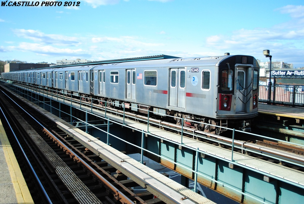 (335k, 1024x687)<br><b>Country:</b> United States<br><b>City:</b> New York<br><b>System:</b> New York City Transit<br><b>Line:</b> IRT Brooklyn Line<br><b>Location:</b> Sutter Avenue/Rutland Road <br><b>Route:</b> 2<br><b>Car:</b> R-142 (Primary Order, Bombardier, 1999-2002)  6346 <br><b>Photo by:</b> Wilfredo Castillo<br><b>Date:</b> 3/29/2012<br><b>Viewed (this week/total):</b> 0 / 924
