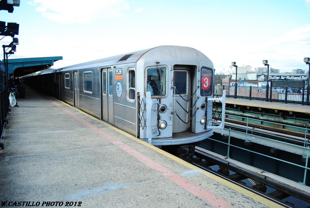 (316k, 1024x687)<br><b>Country:</b> United States<br><b>City:</b> New York<br><b>System:</b> New York City Transit<br><b>Line:</b> IRT Brooklyn Line<br><b>Location:</b> Sutter Avenue/Rutland Road <br><b>Route:</b> 3<br><b>Car:</b> R-62 (Kawasaki, 1983-1985)  1546 <br><b>Photo by:</b> Wilfredo Castillo<br><b>Date:</b> 3/29/2012<br><b>Viewed (this week/total):</b> 0 / 1032