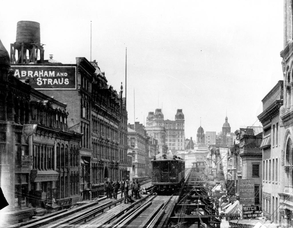 (281k, 1024x798)<br><b>Country:</b> United States<br><b>City:</b> New York<br><b>System:</b> New York City Transit<br><b>Line:</b> BMT Fulton<br><b>Location:</b> Elm Place/Duffield Street <br><b>Photo by:</b> Ed Watson/Arthur Lonto Collection<br><b>Collection of:</b> Frank Pfuhler<br><b>Date:</b> 1905<br><b>Viewed (this week/total):</b> 4 / 975
