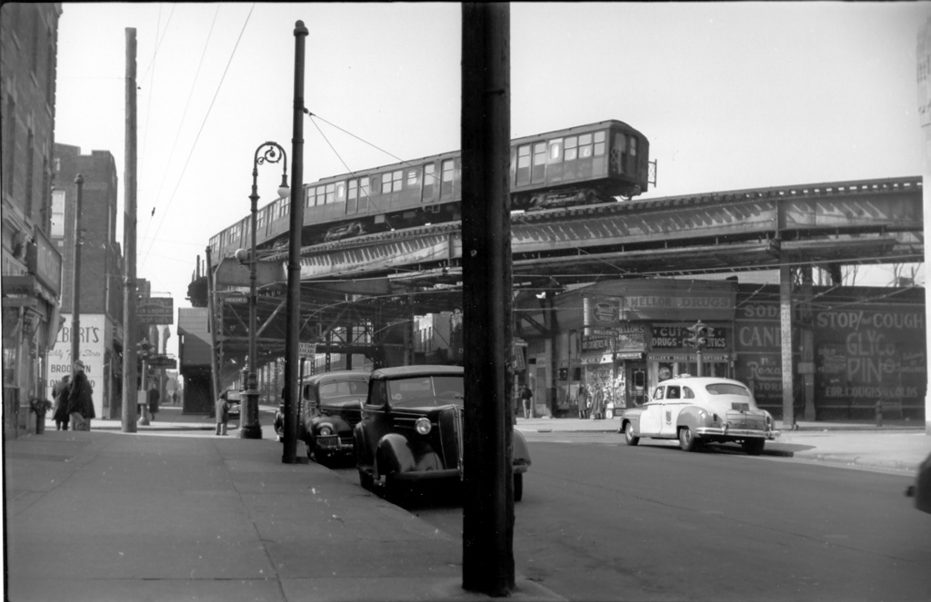 (165k, 1024x663)<br><b>Country:</b> United States<br><b>City:</b> New York<br><b>System:</b> New York City Transit<br><b>Line:</b> BMT Fulton<br><b>Location:</b> Crescent Street <br><b>Car:</b> BMT A/B-Type Standard  <br><b>Photo by:</b> Ed Watson/Arthur Lonto Collection<br><b>Collection of:</b> Frank Pfuhler<br><b>Date:</b> 2/27/1949<br><b>Viewed (this week/total):</b> 0 / 1862