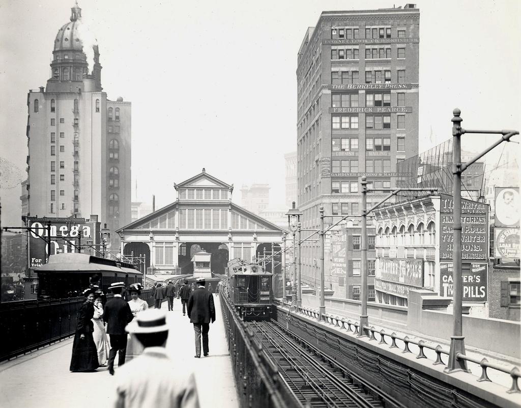 (307k, 1024x801)<br><b>Country:</b> United States<br><b>City:</b> New York<br><b>System:</b> New York City Transit<br><b>Line:</b> BMT Fulton<br><b>Location:</b> Brooklyn Bridge <br><b>Photo by:</b> Ed Watson/Arthur Lonto Collection<br><b>Collection of:</b> Frank Pfuhler<br><b>Date:</b> 1903<br><b>Viewed (this week/total):</b> 0 / 963