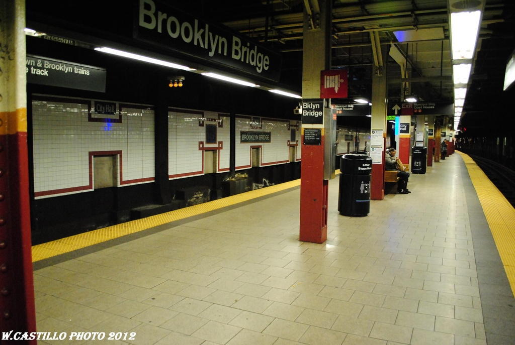 (267k, 1024x687)<br><b>Country:</b> United States<br><b>City:</b> New York<br><b>System:</b> New York City Transit<br><b>Line:</b> IRT East Side Line<br><b>Location:</b> Brooklyn Bridge/City Hall <br><b>Photo by:</b> Wilfredo Castillo<br><b>Date:</b> 3/31/2012<br><b>Viewed (this week/total):</b> 2 / 967