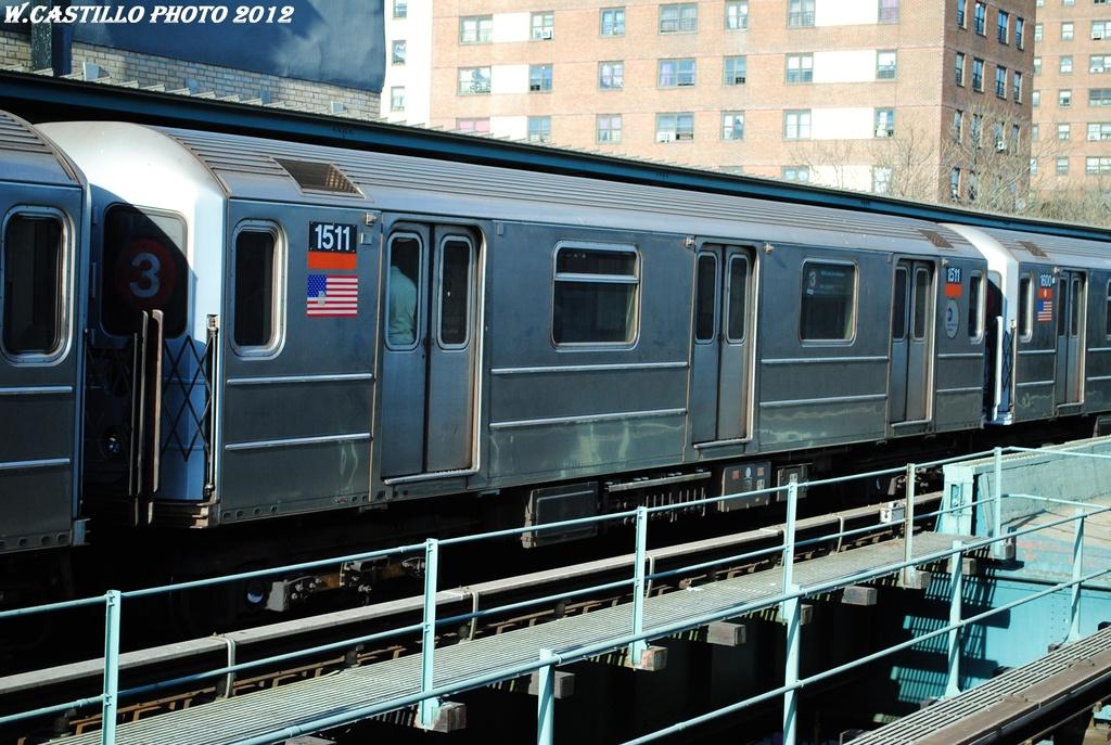 (336k, 1024x687)<br><b>Country:</b> United States<br><b>City:</b> New York<br><b>System:</b> New York City Transit<br><b>Line:</b> IRT Brooklyn Line<br><b>Location:</b> Rockaway Avenue <br><b>Route:</b> 3<br><b>Car:</b> R-62 (Kawasaki, 1983-1985)  1511 <br><b>Photo by:</b> Wilfredo Castillo<br><b>Date:</b> 3/29/2012<br><b>Viewed (this week/total):</b> 3 / 786