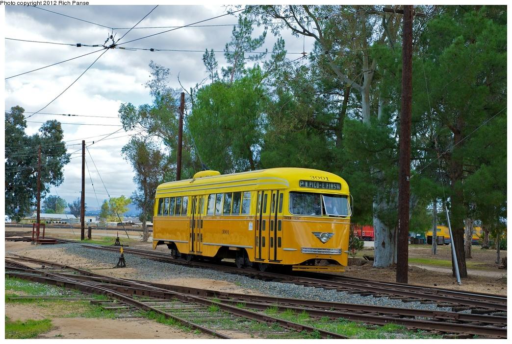 (382k, 1044x703)<br><b>Country:</b> United States<br><b>City:</b> Perris, CA<br><b>System:</b> Orange Empire Railway Museum <br><b>Car:</b> PCC  3001 <br><b>Photo by:</b> Richard Panse<br><b>Date:</b> 2012<br><b>Viewed (this week/total):</b> 0 / 854