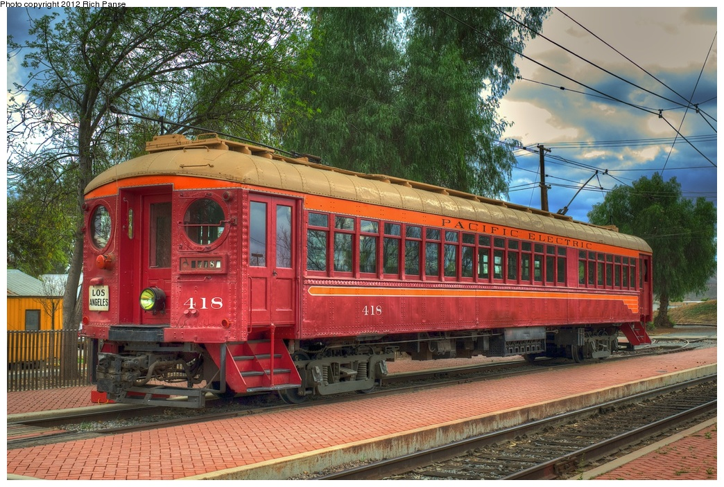 (384k, 1044x703)<br><b>Country:</b> United States<br><b>City:</b> Perris, CA<br><b>System:</b> Orange Empire Railway Museum <br><b>Car:</b>  418 <br><b>Photo by:</b> Richard Panse<br><b>Date:</b> 2012<br><b>Viewed (this week/total):</b> 1 / 727