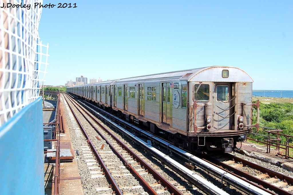 (376k, 1024x681)<br><b>Country:</b> United States<br><b>City:</b> New York<br><b>System:</b> New York City Transit<br><b>Line:</b> IND Rockaway<br><b>Location:</b> Beach 44th Street/Frank Avenue <br><b>Route:</b> A<br><b>Car:</b> R-32 (Budd, 1964)  3778 <br><b>Photo by:</b> John Dooley<br><b>Date:</b> 8/11/2011<br><b>Viewed (this week/total):</b> 5 / 583