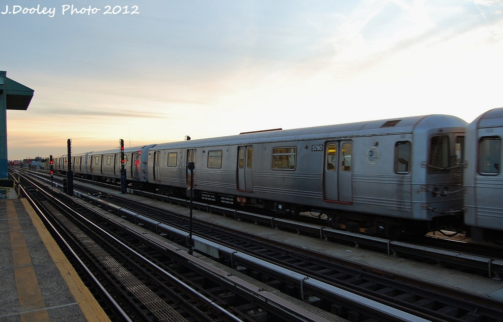 (254k, 1024x657)<br><b>Country:</b> United States<br><b>City:</b> New York<br><b>System:</b> New York City Transit<br><b>Line:</b> BMT Culver Line<br><b>Location:</b> Ditmas Avenue <br><b>Route:</b> F<br><b>Car:</b> R-46 (Pullman-Standard, 1974-75) 5780 <br><b>Photo by:</b> John Dooley<br><b>Date:</b> 1/20/2012<br><b>Viewed (this week/total):</b> 0 / 857