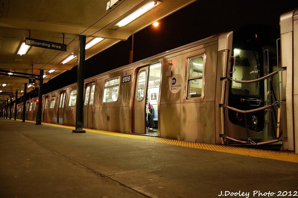 (337k, 1024x680)<br><b>Country:</b> United States<br><b>City:</b> New York<br><b>System:</b> New York City Transit<br><b>Line:</b> BMT Canarsie Line<br><b>Location:</b> Rockaway Parkway <br><b>Route:</b> L<br><b>Car:</b> R-143 (Kawasaki, 2001-2002) 8109 <br><b>Photo by:</b> John Dooley<br><b>Date:</b> 1/15/2012<br><b>Viewed (this week/total):</b> 3 / 958