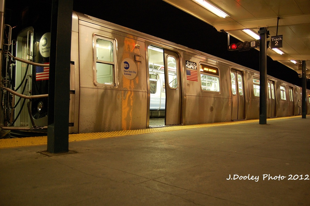 (314k, 1024x680)<br><b>Country:</b> United States<br><b>City:</b> New York<br><b>System:</b> New York City Transit<br><b>Line:</b> BMT Canarsie Line<br><b>Location:</b> Rockaway Parkway <br><b>Route:</b> L<br><b>Car:</b> R-143 (Kawasaki, 2001-2002) 8168 <br><b>Photo by:</b> John Dooley<br><b>Date:</b> 1/15/2012<br><b>Viewed (this week/total):</b> 1 / 952