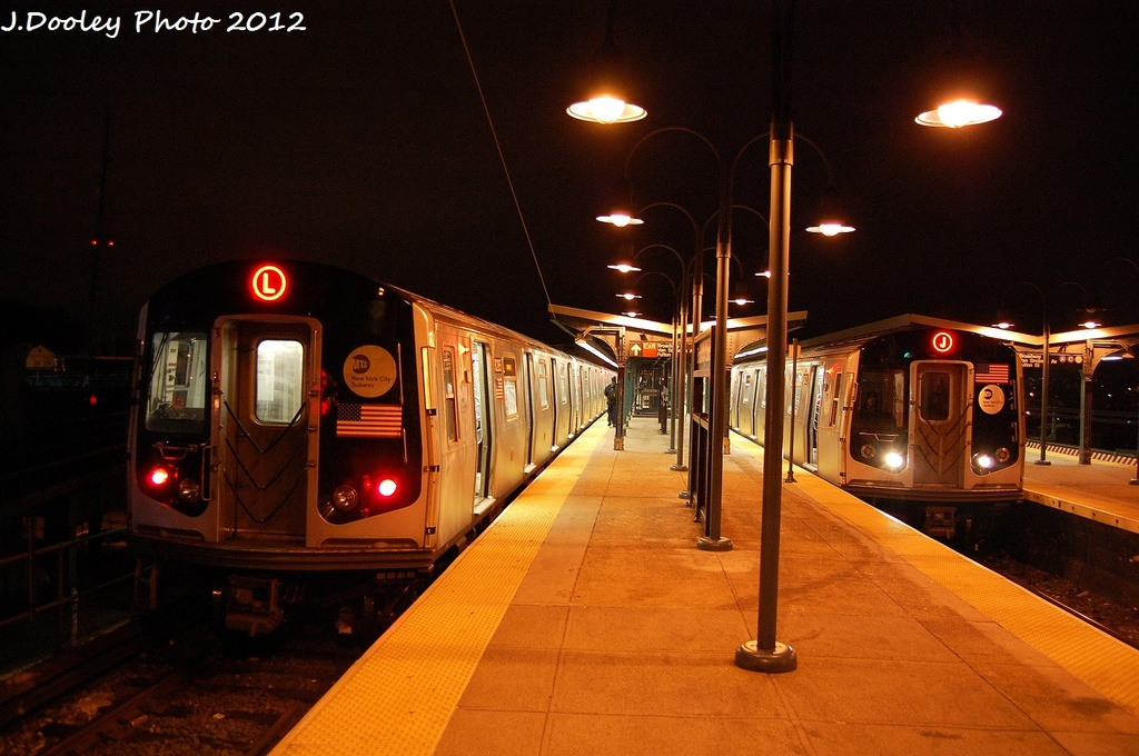 (308k, 1024x680)<br><b>Country:</b> United States<br><b>City:</b> New York<br><b>System:</b> New York City Transit<br><b>Line:</b> BMT Canarsie Line<br><b>Location:</b> Broadway Junction <br><b>Route:</b> L<br><b>Car:</b> R-143 (Kawasaki, 2001-2002) 8205 <br><b>Photo by:</b> John Dooley<br><b>Date:</b> 1/15/2012<br><b>Viewed (this week/total):</b> 2 / 920