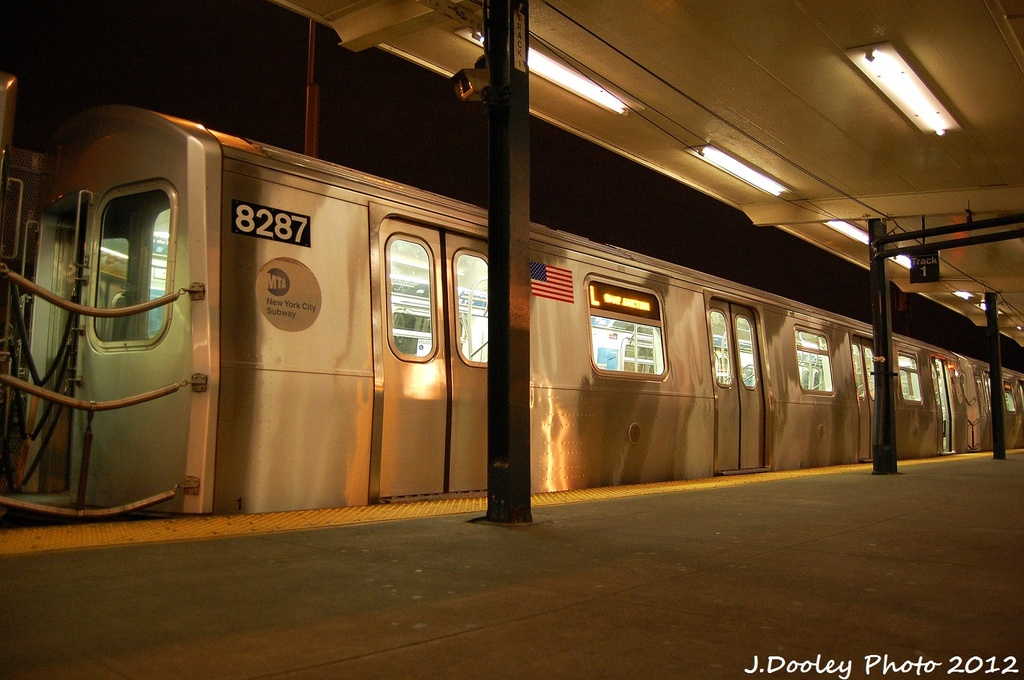 (314k, 1024x680)<br><b>Country:</b> United States<br><b>City:</b> New York<br><b>System:</b> New York City Transit<br><b>Line:</b> BMT Canarsie Line<br><b>Location:</b> Rockaway Parkway <br><b>Route:</b> L<br><b>Car:</b> R-143 (Kawasaki, 2001-2002) 8287 <br><b>Photo by:</b> John Dooley<br><b>Date:</b> 1/15/2012<br><b>Viewed (this week/total):</b> 0 / 764