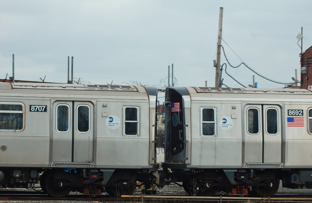 (222k, 1024x666)<br><b>Country:</b> United States<br><b>City:</b> New York<br><b>System:</b> New York City Transit<br><b>Location:</b> Coney Island Yard<br><b>Car:</b> R-160A-2 (Alstom, 2005-2008, 5 car sets)  8707/8692 <br><b>Photo by:</b> John Dooley<br><b>Date:</b> 1/14/2012<br><b>Viewed (this week/total):</b> 0 / 640