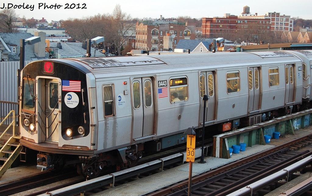 (371k, 1024x645)<br><b>Country:</b> United States<br><b>City:</b> New York<br><b>System:</b> New York City Transit<br><b>Line:</b> BMT Culver Line<br><b>Location:</b> Ditmas Avenue <br><b>Route:</b> F<br><b>Car:</b> R-160A (Option 1) (Alstom, 2008-2009, 5 car sets)  9443 <br><b>Photo by:</b> John Dooley<br><b>Date:</b> 1/20/2012<br><b>Viewed (this week/total):</b> 0 / 777