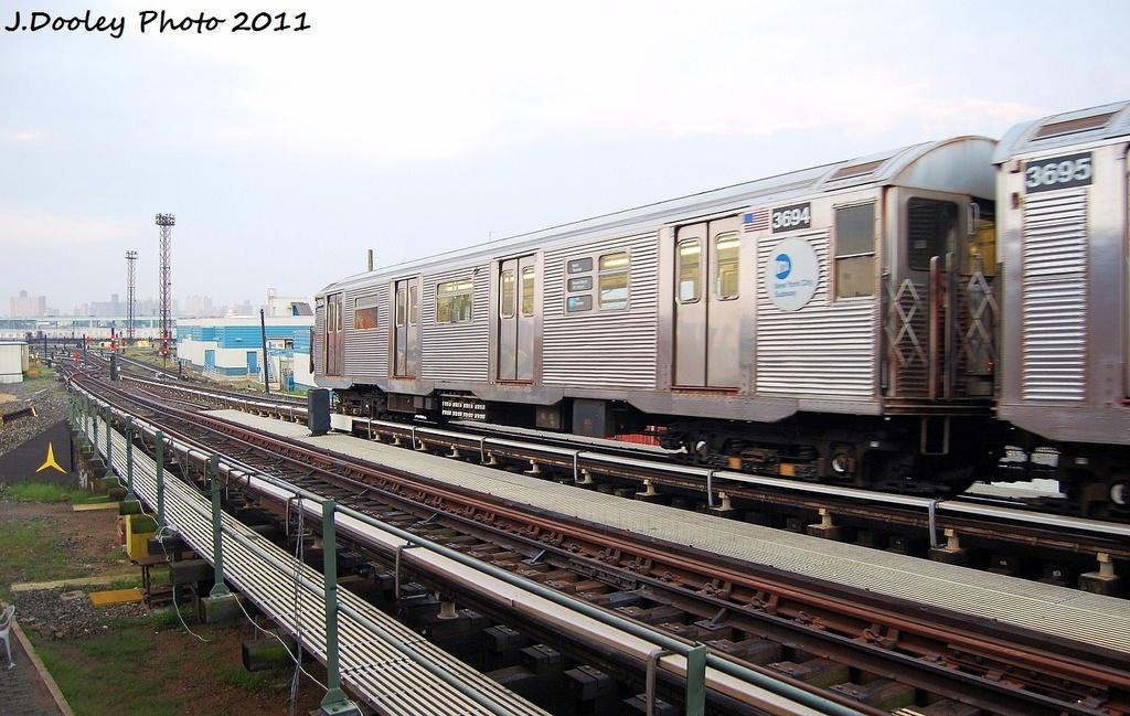 (332k, 1024x649)<br><b>Country:</b> United States<br><b>City:</b> New York<br><b>System:</b> New York City Transit<br><b>Line:</b> BMT Culver Line<br><b>Location:</b> Avenue X <br><b>Route:</b> Work Service<br><b>Car:</b> R-32 (Budd, 1964)  3694 <br><b>Photo by:</b> John Dooley<br><b>Date:</b> 8/26/2011<br><b>Viewed (this week/total):</b> 0 / 500
