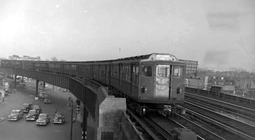 (128k, 1024x561)<br><b>Country:</b> United States<br><b>City:</b> New York<br><b>System:</b> New York City Transit<br><b>Line:</b> IRT Flushing Line<br><b>Location:</b> 46th Street/Bliss Street <br><b>Car:</b> Low-V Worlds Fair 5675 <br><b>Collection of:</b> Frank Pfuhler<br><b>Date:</b> 2/26/1949<br><b>Viewed (this week/total):</b> 0 / 1952