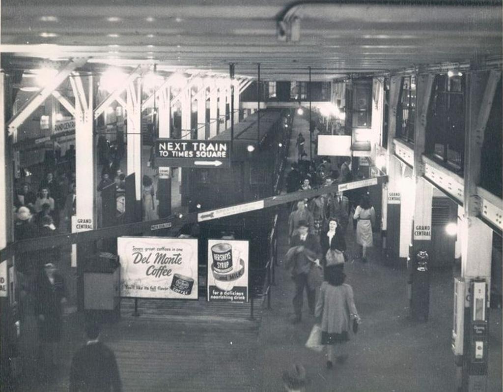 (241k, 1024x797)<br><b>Country:</b> United States<br><b>City:</b> New York<br><b>System:</b> New York City Transit<br><b>Line:</b> IRT Times Square-Grand Central Shuttle<br><b>Location:</b> Grand Central <br><b>Collection of:</b> Frank Pfuhler<br><b>Date:</b> 1948<br><b>Viewed (this week/total):</b> 1 / 1459