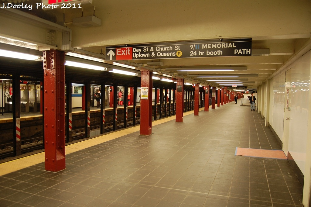(274k, 1024x681)<br><b>Country:</b> United States<br><b>City:</b> New York<br><b>System:</b> New York City Transit<br><b>Line:</b> BMT Broadway Line<br><b>Location:</b> Cortlandt Street-World Trade Center <br><b>Photo by:</b> John Dooley<br><b>Date:</b> 9/6/2011<br><b>Viewed (this week/total):</b> 1 / 1204