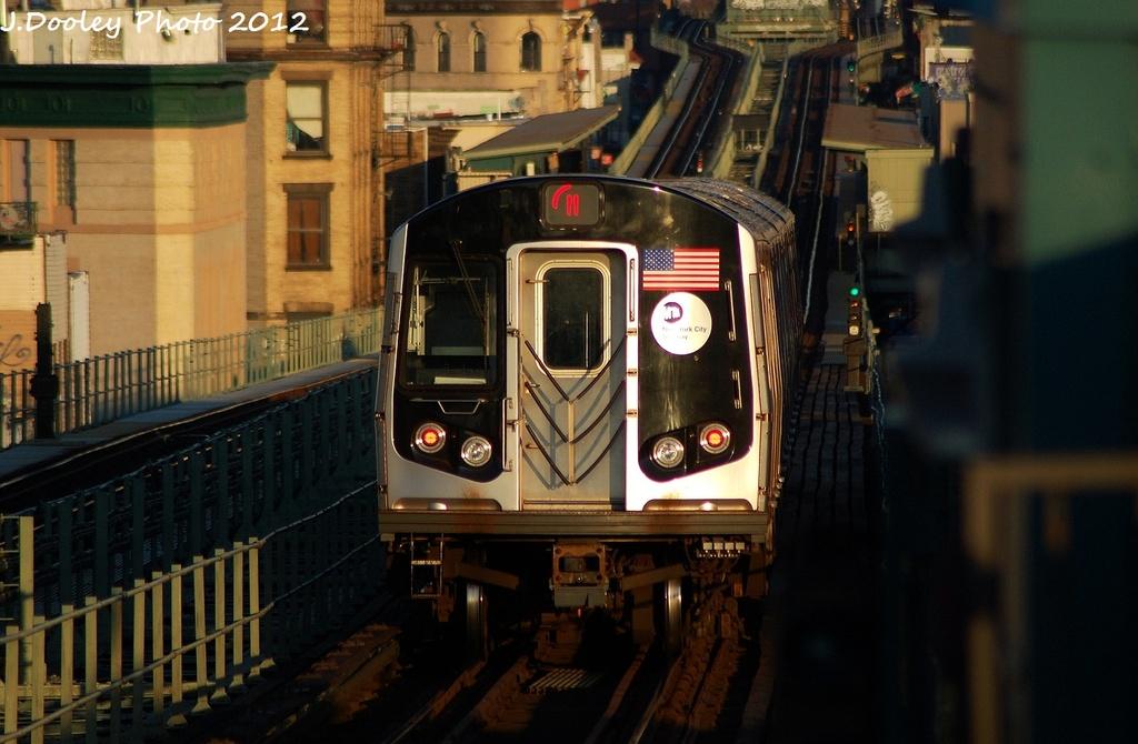 (285k, 1024x670)<br><b>Country:</b> United States<br><b>City:</b> New York<br><b>System:</b> New York City Transit<br><b>Line:</b> BMT Myrtle Avenue Line<br><b>Location:</b> Central Avenue <br><b>Route:</b> M<br><b>Car:</b> R-160A-1 (Alstom, 2005-2008, 4 car sets)  8504 <br><b>Photo by:</b> John Dooley<br><b>Date:</b> 1/28/2012<br><b>Viewed (this week/total):</b> 3 / 1042
