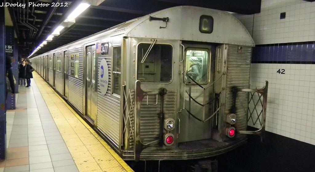 (250k, 1024x559)<br><b>Country:</b> United States<br><b>City:</b> New York<br><b>System:</b> New York City Transit<br><b>Line:</b> IND 8th Avenue Line<br><b>Location:</b> 42nd Street/Port Authority Bus Terminal <br><b>Route:</b> C<br><b>Car:</b> R-32 (Budd, 1964)  3477 <br><b>Photo by:</b> John Dooley<br><b>Date:</b> 12/4/2011<br><b>Viewed (this week/total):</b> 0 / 1027