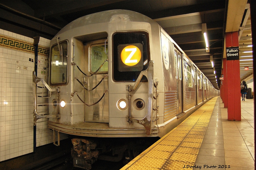 (380k, 1024x681)<br><b>Country:</b> United States<br><b>City:</b> New York<br><b>System:</b> New York City Transit<br><b>Line:</b> BMT Nassau Street/Jamaica Line<br><b>Location:</b> Fulton Street <br><b>Route:</b> Z<br><b>Car:</b> R-42 (St. Louis, 1969-1970)  4820 <br><b>Photo by:</b> John Dooley<br><b>Date:</b> 11/25/2011<br><b>Viewed (this week/total):</b> 2 / 1904