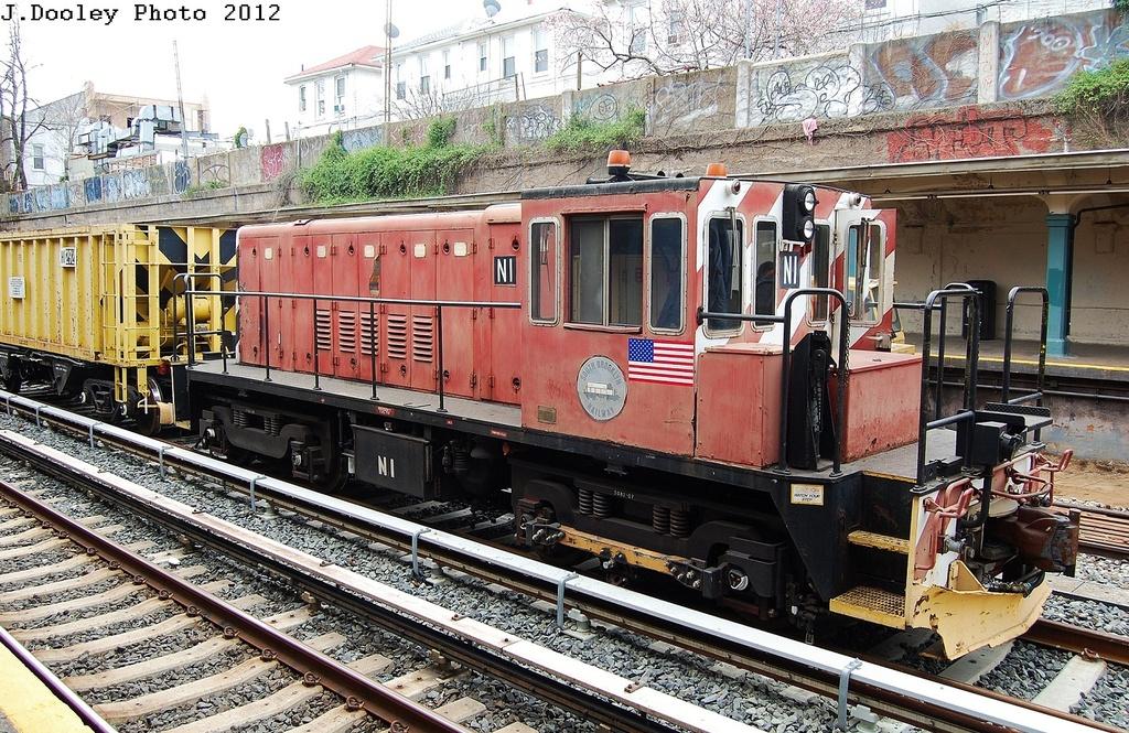 (459k, 1024x665)<br><b>Country:</b> United States<br><b>City:</b> New York<br><b>System:</b> New York City Transit<br><b>Line:</b> BMT Sea Beach Line<br><b>Location:</b> Bay Parkway (22nd Avenue) <br><b>Route:</b> Work Service<br><b>Car:</b> R-47 (SBK) Locomotive  N1 <br><b>Photo by:</b> John Dooley<br><b>Date:</b> 3/24/2012<br><b>Viewed (this week/total):</b> 0 / 782
