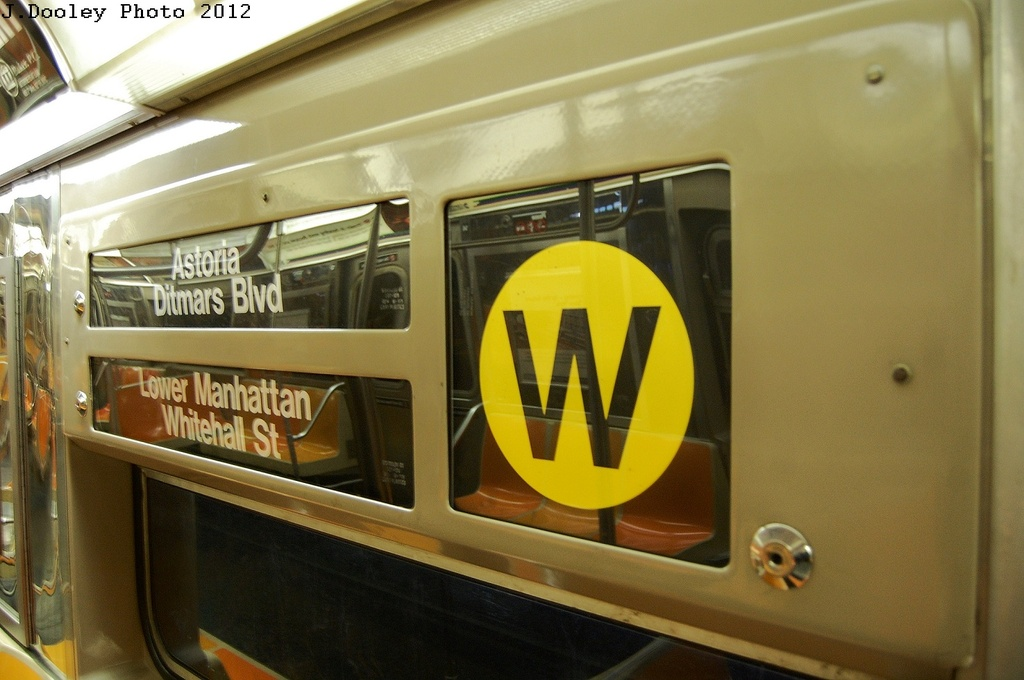 (264k, 1024x680)<br><b>Country:</b> United States<br><b>City:</b> New York<br><b>System:</b> New York City Transit<br><b>Car:</b> R-68 (Westinghouse-Amrail, 1986-1988)  Interior <br><b>Photo by:</b> John Dooley<br><b>Date:</b> 2/28/2012<br><b>Notes:</b> Note wrong signs; Probably a Q service.<br><b>Viewed (this week/total):</b> 1 / 1085