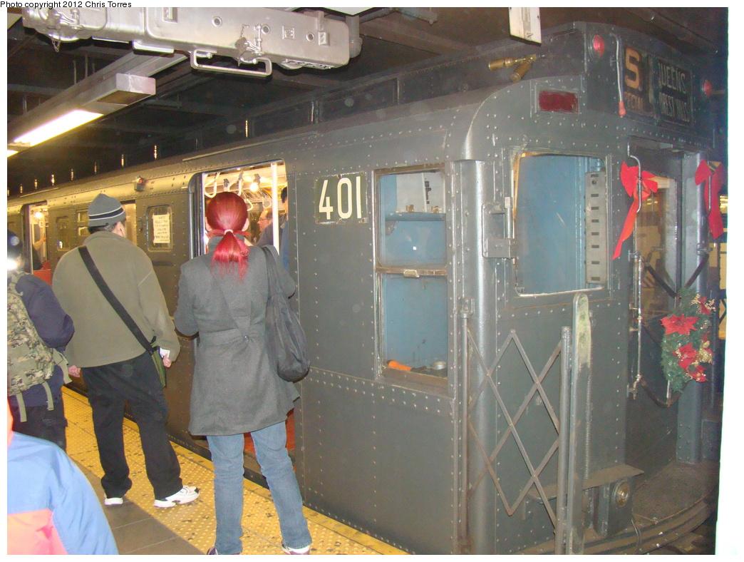 (367k, 1044x788)<br><b>Country:</b> United States<br><b>City:</b> New York<br><b>System:</b> New York City Transit<br><b>Line:</b> IND Queens Boulevard Line<br><b>Location:</b> Queens Plaza <br><b>Route:</b> Museum Train Service<br><b>Car:</b> R-4 (American Car & Foundry, 1932-1933) 401 <br><b>Photo by:</b> Chris Torres<br><b>Date:</b> 12/17/2011<br><b>Viewed (this week/total):</b> 3 / 1011