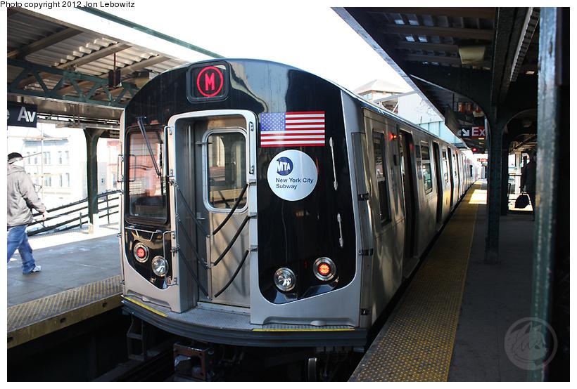 (270k, 820x554)<br><b>Country:</b> United States<br><b>City:</b> New York<br><b>System:</b> New York City Transit<br><b>Line:</b> BMT Nassau Street/Jamaica Line<br><b>Location:</b> Myrtle Avenue <br><b>Route:</b> M<br><b>Car:</b> R-160A-1 (Alstom, 2005-2008, 4 car sets)   <br><b>Photo by:</b> Jon Lebowitz<br><b>Date:</b> 3/7/2010<br><b>Viewed (this week/total):</b> 0 / 850