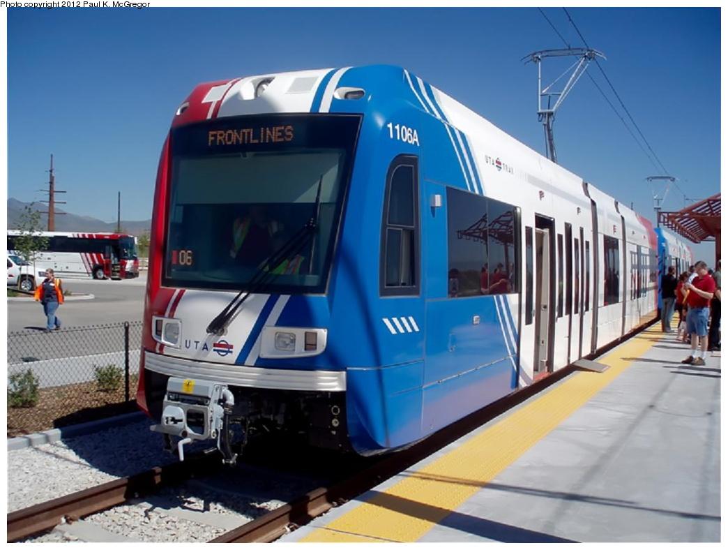 (240k, 1044x788)<br><b>Country:</b> United States<br><b>City:</b> Salt Lake City, UT<br><b>System:</b> TRAX<br><b>Location:</b> 5600 West <br><b>Car:</b> Siemens S-70  1106 <br><b>Photo by:</b> Paul McGregor<br><b>Date:</b> 6/17/2010<br><b>Viewed (this week/total):</b> 3 / 1198