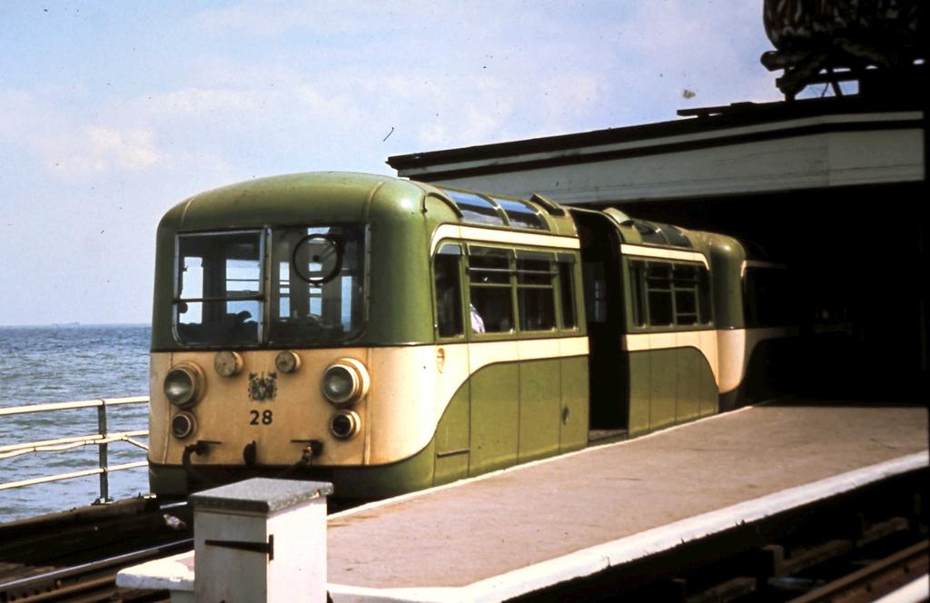 (196k, 1024x664)<br><b>Country:</b> United Kingdom<br><b>City:</b> Southend-on-Sea, Essex<br><b>System:</b> Southend Pier Railway<br><b>Car:</b>  28 <br><b>Photo by:</b> Dave Carson<br><b>Date:</b> 7/9/1974<br><b>Notes:</b> 1949-built AC Cars train which ran until 1978<br><b>Viewed (this week/total):</b> 4 / 820